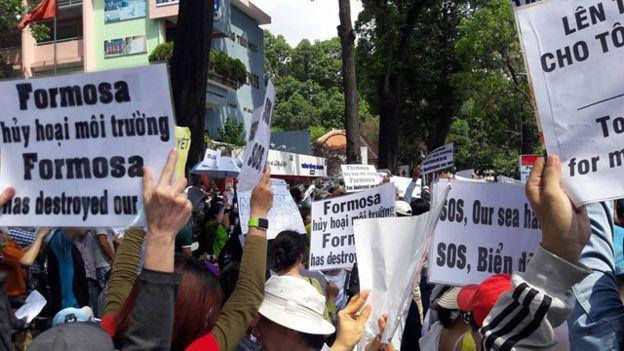 Người dân Việt Nam phản đối vụ ô nhiễm làm cá chết hàng loạt. Ảnh: internet
