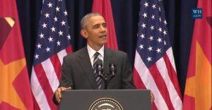 TT Obama phát biểu tại Mỹ Đình, Hà Nội. Nguồn: Nhà Trắng