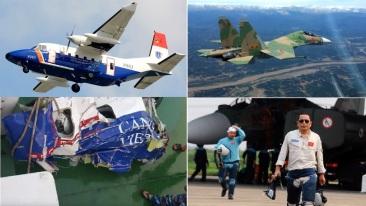 Chiếc CASA 212 và xác của nó được tìm thấy (trái); chiếc SU-30MK2 và thượng tá Trần Quang Khải đã vĩnh viễn ra đi. Nguồn: cắt từ ảnh trên internet.