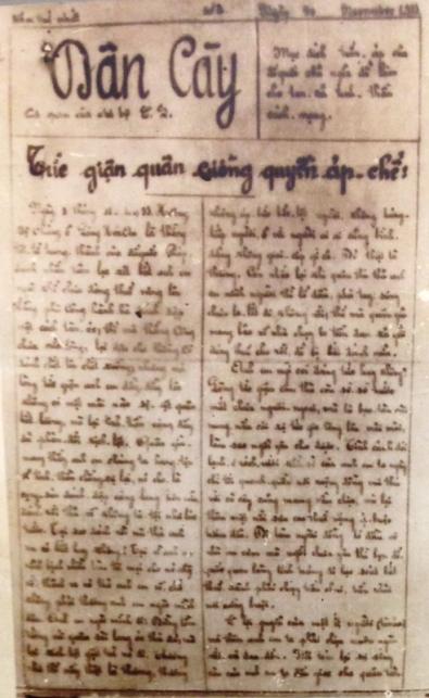 Một số báo Dân Cày ra đời gần 1 thế kỷ trước. Dân cày ngày nay không được ra báo. Ảnhchụp lại: VGP/Nguyệt Hà.
