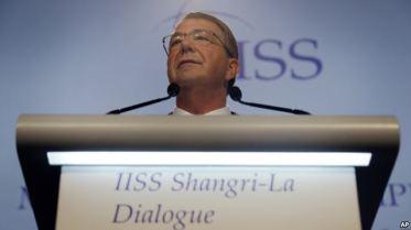 Bộ trưởng Quốc phòng Ash Carter phát biểu tại diễn đàn an ninh khu vực Đối thoại Shangri-la tại Singapore, ngày 4 tháng 6 năm 2016. Ảnh: AP