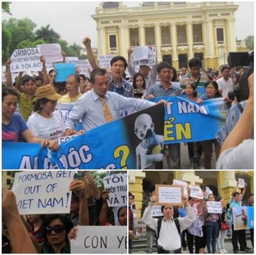 Người dân biểu tình vụ cá chết hàng loạt ở miền Trung. Nguồn: FB