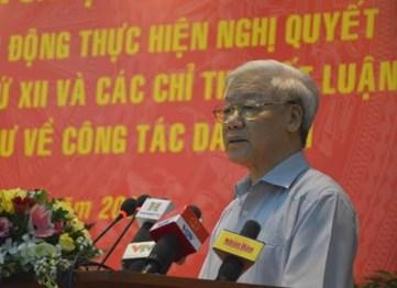 TBT Nguyễn Phú Trọng tại hội nghị. Nguồn: báo QĐND