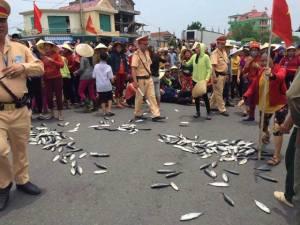 Ngư dân mang cá xuống đường biểu tình, phản đối Formosa. Ảnh: internet