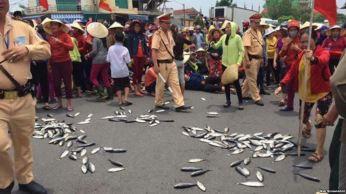 Ngư dân Việt Nam biểu tình vì cá chết hàng loạt ở miền trung. Ảnh: Web screenshot