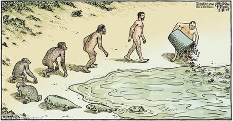 Sau khi tiến hóa từ loài thủy sinh, con người lại gây ô nhiễm, ngược đãi chính môi trường sống của mình. Ảnh: Internet