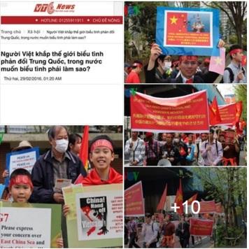 Người dân Việt và cả nước ngoài ở 5 quốc gia gồm: Đức, Nhật, Hàn, Pháp và Canada biểu tình phản đối Trung Quốc bành trướng biển đông vào tháng 02.2016.