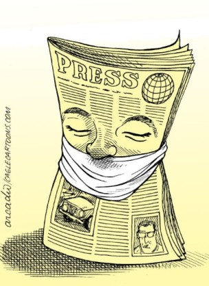 Kiểm duyệt báo chí. Ảnh: internet
