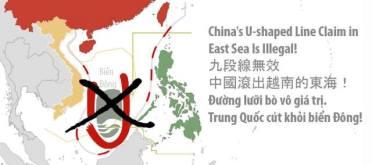 Phản đối đường lưỡi bò của TQ ở biển Đông. Nguồn: internet