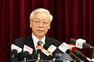 Tổng Bí thư Nguyễn Phú Trọng phát biểu tại Hội nghị - Ảnh: VGP/Nguyễn Hoàng