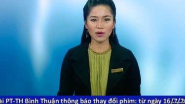 """nữ phát thanh viên tên Thu Thủy thông báo rằng Đài truyền hình Bình Thuận ngừng chiếu phim """"Tân Bến Thượng Hải"""" hôm 16/7. Ảnh chụp màn hình."""