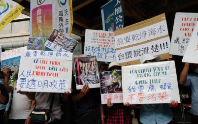 Người Việt cư ngụ tại Đài Loan biểu tình ngày 18 tháng 6, 2016 chống công ty Formosa xả chất thải độc hại giết thủy sản suốt dọc 4 tỉnh miền Trung Việt Nam. (Hình: Sam Yeh/AFP/Getty Images)