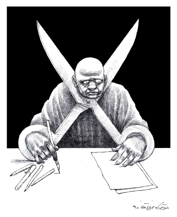 Kiểm duyệt báo chí là tự cắt cổ mình. Ảnh: Touka Neyestani.