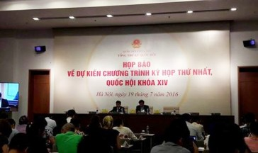Văn phòng Quốc hội họp báo về Kỳ họp thứ nhất Quốc hội khóa 14. Ảnh: báo PLVN
