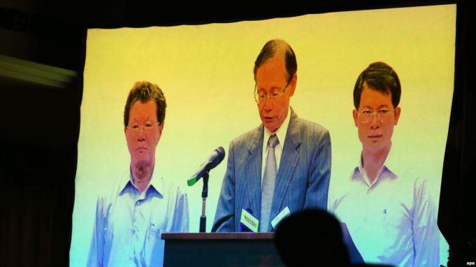 Chủ tịch Chen Yuan-cheng của Formosa Hà Tĩnh xin lỗi chính phủ và nhân dân Việt Nam trong buổi họp báo công bố nguyên nhân gây cá chết hôm 30/6/2016. Ảnh: EPA