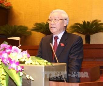 Tổng Bí thư Nguyễn Phú Trọng phát biểu ý kiến tại kỳ họp thứ nhất, Quốc hội khóa XIV. Ảnh: TTXVN.