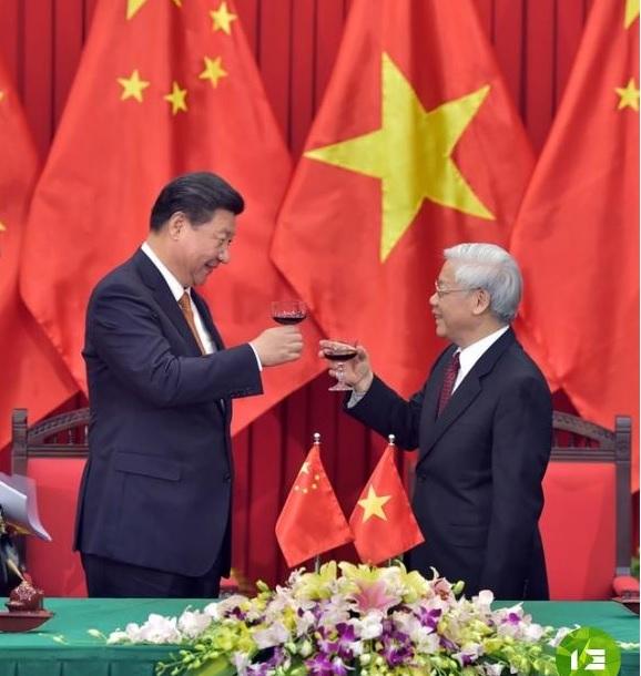 Hai đầu đảng Nguyễn Phú Trọng (phải) và Tập Cận Bình. Ảnh: internet