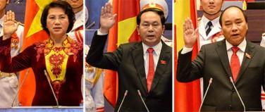 Ba tân lãnh đạo tuyên thệ lần đầu. Ảnh: internet