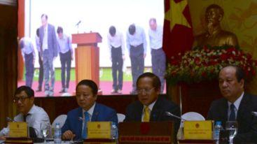 Họp báo của chính phủ Việt Nam công bố kết luận điều tra Formosa gây ô nhiễm biển khiến cá chết hàng loạt tại miền Trung. Ảnh: AFP
