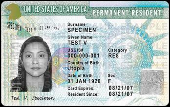 Hình minh họa thẻ xanh Mỹ. Nguồn: Sở Di trú Mỹ