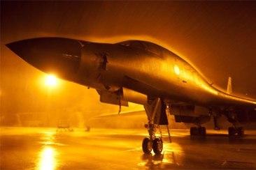 Oanh tạc cơ chiến lược B-1 trực chiến tại căn cứ không quân Ellsworth ở South Dakota. (Hình: US Air Force)