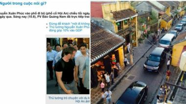 Báo Quảng Nam (trái) lên tiếng về tấm hình lan truyền trên mạng xã hội (phải)