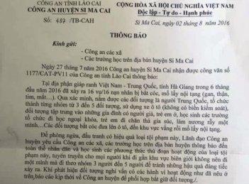 Công văn của Công an huyện Si Ma Cai (Lào Cai) gửi công an xã và các trường trên địa bàn huyện.