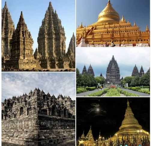 ảnh các công trình kiến trúc của Thailand, Myanmar, Indonesia, Cambodia