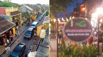 Đoàn xe thủ tướng Nguyễn Xuân Phúc rầm rộ kéo vào phố cổ Hội An, bất chấp bảng cấm xe cơ giới, 8/8/2016. Ảnh: DLB