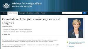 Thông cáo của Bộ trưởng Ngoại giao Úc Julie Bishop về việc lễ kỷ niệm cuộc chiến Long Tân bị hủy bỏ. Ảnh chụp màn hình.