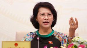 Chủ tịch Quốc hội Việt Nam Nguyễn Thị Kim Ngân trong một cuộc họp báo ở Hà Nội, ngày 23/7/2016. Ảnh: Reuters.