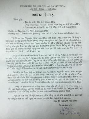 Đơn khiếu nại của cô Nguyễn Thị Nay, mẹ TNLT Nguyễn Hữu Quốc Huy