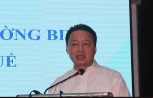 Bộ trưởng Bộ TN&MT Trần Hồng Hà hội nghị báo cáo kết quả đánh giá hiện trạng môi trường biển từ Hà Tĩnh đến Thừa Thiên-Huế. Ảnh: internet
