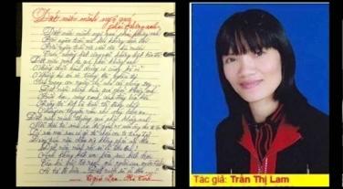 """Cô giáo Trần Thị Lam và bài thơ """"Đất nước mình ngộ quá phải không anh?"""" Nguồn: internet"""