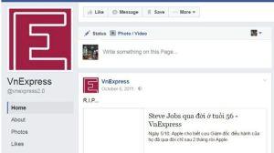 Fanpage của VnExpress hiện chỉ còn hiển thị các post từ năm 2011. Ảnh chụp màn hình.