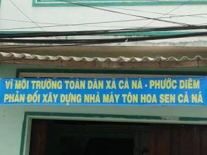 Người dân phản đối xây dựng dự án thép của Tôn Hoa Sen. Nguồn: internet