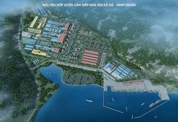 Phối cảnh dự án Khu liên hợp luyện cán thép Hoa Sen Cà Ná – Ninh Thuận.
