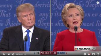 """Hai ứng cử viên tổng thống lên truyền hình """"so găng"""" đêm qua ở Mỹ. Nguồn: internet"""