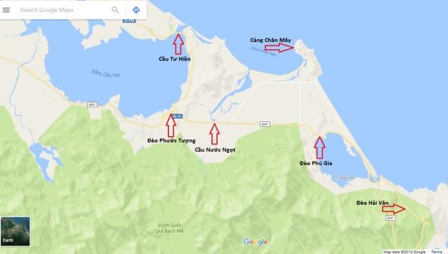 Cảng Chân Mây và những vị trí xung yếu chung quanh. Ảnh: Lê Anh Hùng/ Google Map