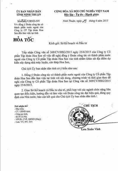 Công văn của Chủ tịch UBND tỉnh Ninh Thuận, gửi Sở Kế hoạch Đầu tư. Nguồn: FB Bạch Hoàn.