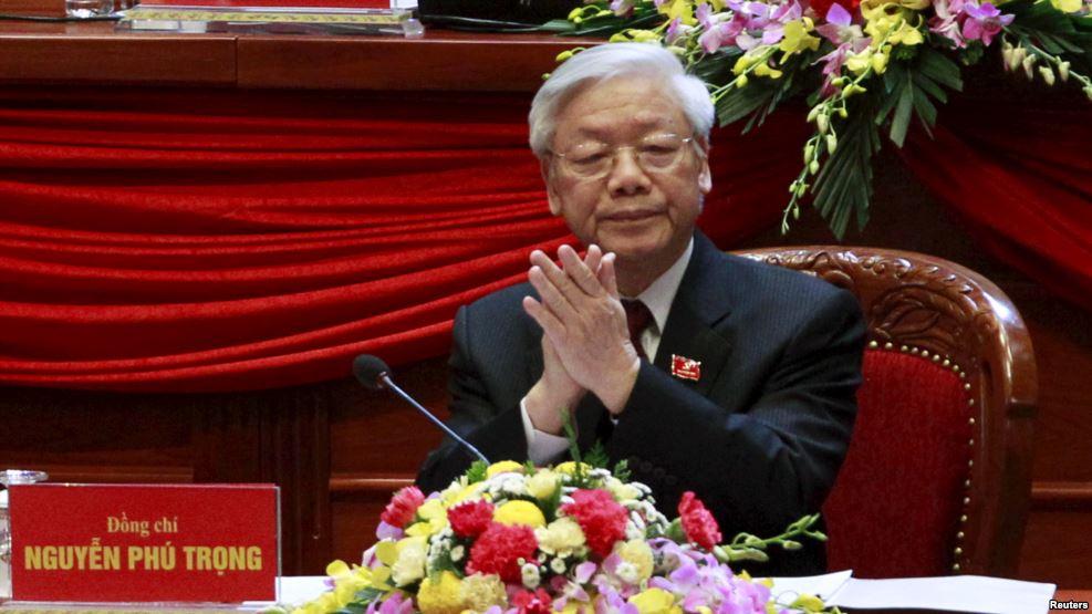 Tổng Bí thư Nguyễn Phú Trọng tại Đại hội Đảng Cộng sản Việt Nam lần thứ 12, 21/1/2016. Ảnh: Reuters.
