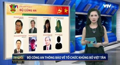 Đài VTV loan tin thông báo của BCA về Việt Tân. Ảnh: VTV