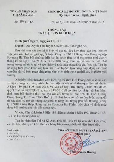 Thông báo của Tòa án TX Kỳ Anh trả lại đơn kiện. Ảnh: FB Luân Lê.
