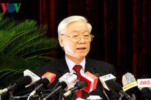 Ông Nguyễn Phú Trọng phát biểu tại HNTU 4, khóa 12. Nguồn: internet