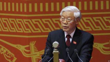 Tổng Bí thư Nguyễn Phú Trọng phát biểu trong lễ khai mạc Đại hội Đảng Cộng sản Việt Nam XII, 21/1/2016. Ảnh: AP