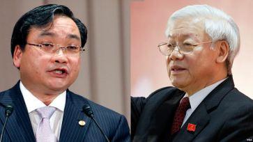 Bí thư Thành ủy Hoàng Trung Hải (trái) và Tổng Bí thư Nguyễn Phú Trọng. Ảnh tư liệu/ VOA