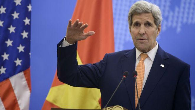 Ngoại trưởng Mỹ John Kerry khi thăm Việt Nam ngày 7/8/2015. Ảnh: Getty Images