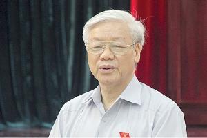 Tổng Bí thư Nguyễn Phú Trọng phát biểu trongbuổi tiếp xúc cử tri quận Ba Đình, Hà Nội ngày 17/10 - Ảnh: TTXVN