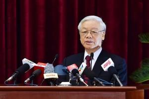 TBT Nguyễn Phú Trọng phát biểu bế mạc Hội nghị Trung ương 4. Ảnh: internet