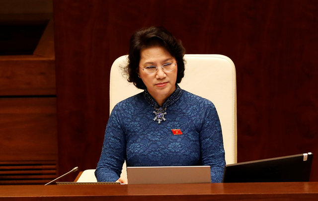 Vietnam's National Assembly Chairwoman Nguyen Thi Kim Ngan attends the opening ceremony of the first session of new National Assembly at Ba Dinh hall in Hanoi, Vietnam July 20, 2016. REUTERS/Kham